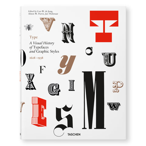 A white cover with a floating arrangement of simple and ornate typeface specimens and one bee in roman, italic, bold, semibold, narrow, and broad fonts in taupe, black and red. Editors' credit and book title are upper left.