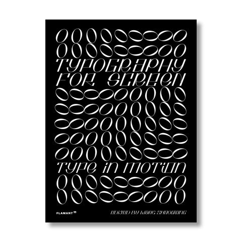 "Black book cover features a white energetic pattern of the letters ""O"" in 9 vertical lines, the title and subtitle are interwoven in the pattern, reads in caps ""Typography For Screen"", ""Type In Motion""."