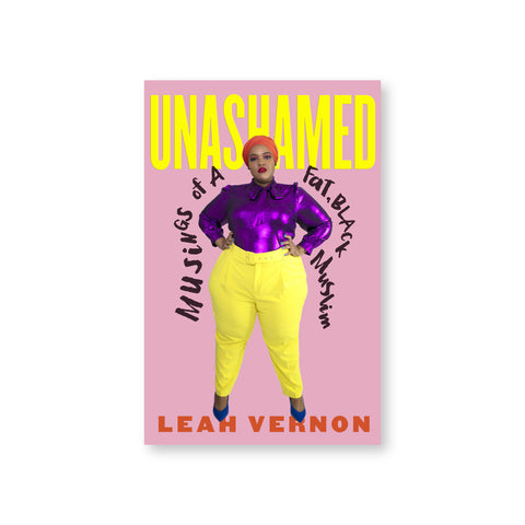Pink book cover with photograph of Leah Vernon standing centered in yellow pants and purple shirt.