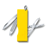 Rectangular shaped yellow Tomo Pocket Knife with Victorinox logo showing blade, nail cleaner, and scissors open with key ring on top.