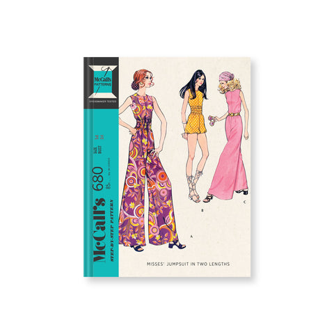 Journal cover featuring three illustrated figures in colorful jumpsuits with pink and yellow pattern. Blue vertical band on left shows McCall's pattern information