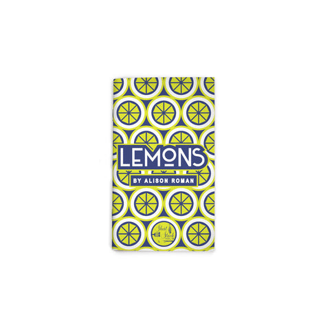 "Small, book cover featuring an all-over pattern of geometric yellow-green lemon slices. Text reading ""Lemons"" at center. Short Stack Editions logo at bottom center."