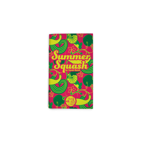 "Small, magenta book cover featuring an all-over illustration of different squash and vines in vibrant greens. 70s-style script text reading ""Summer Squash"" at upper center. Short Stack Editions logo at bottom center."