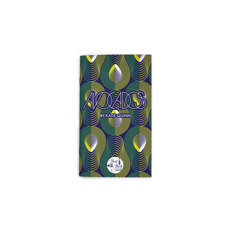 "Small, navy book cover featuring an all-over pattern of avocados formed from concentric lines. Text reading ""Avocados"" at upper center. Short Stack Editions logo at bottom center."