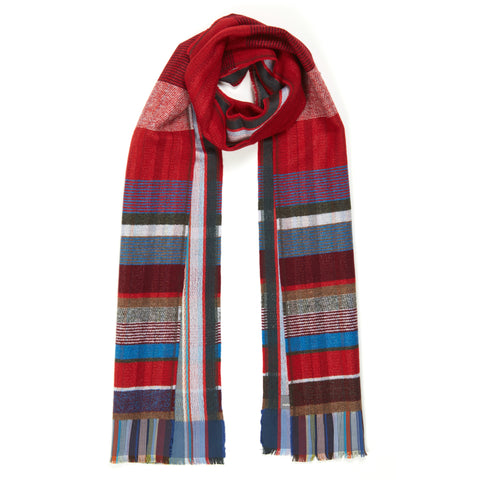 Red Bondone Silk and Lambswool scarf on a white background. Distinctive pinstripe weave pattern with mixed-color pattern accents, the scarf arranged is as though casually draped about the neck.