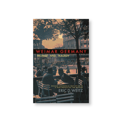 Book cover with sepia toned early twentieth century photograph of a urban center with cafe patrons trees public transportation and buildings. Title in red font in black horizontal band near center