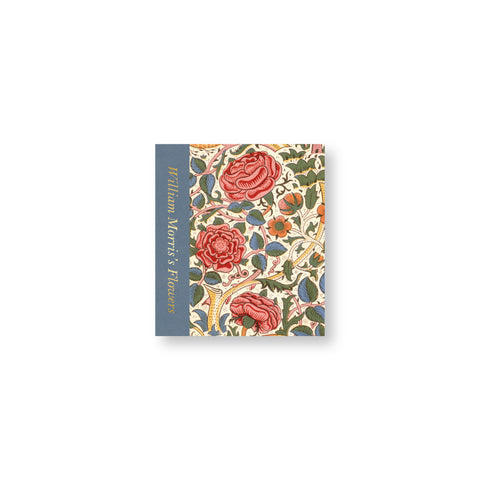 Small book cover with a colorful floral pattern and blue column by the spine with the title printed vertically in gold foil stamped letters