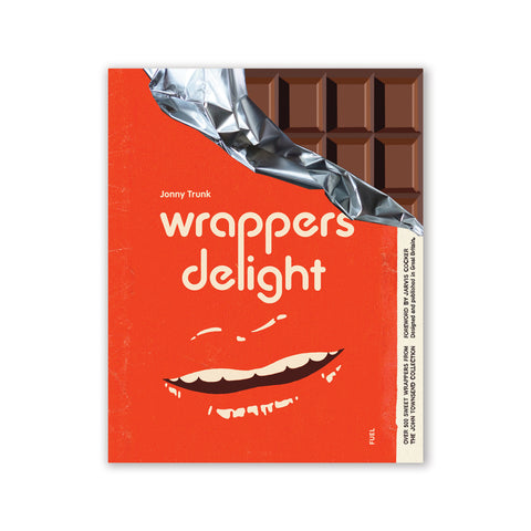 Book cover appears to be a partially opened chocolate bar, as the top right corner 'reveals' chocolate portions and the inside foil of the wrapper is also partially revealed; the rest of the book cover is a vibrant red-orange color, centered title, and an open mouth that blends in with the background color.