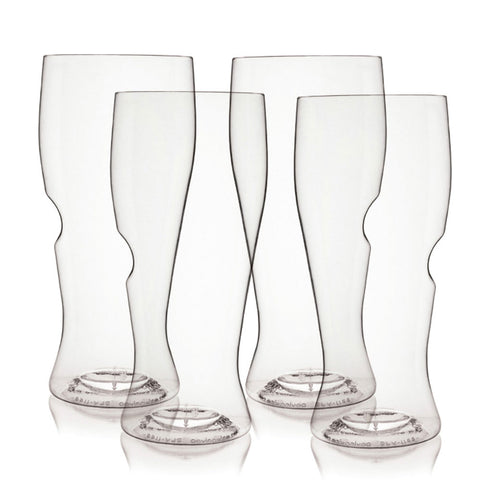 Set of four stemless beer glasses featuring an ergonomic thumb grip.