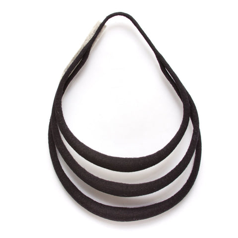 A wool felt necklace in black. There are three felted wool bars that hang, one atop the other, in the design of the necklace.