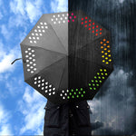 Composite image. On the left, a sunny day depicts the umbrella with white decorative elements around the outside boarder. On the right, the rain demonstrates the rainbow color-change