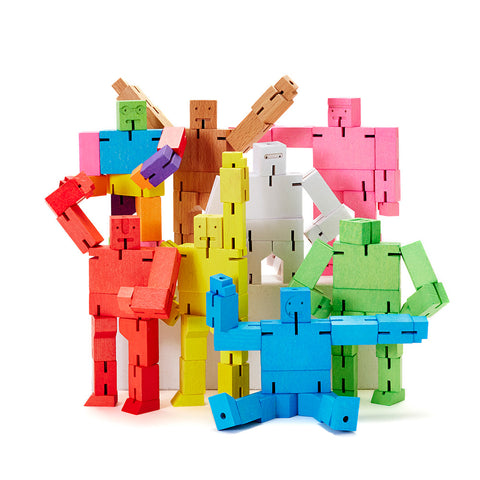 Grouping of Micro Cubebots in all available colors, posed in various playful positions.