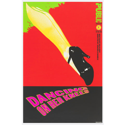 "Rectangle poster features women leg in black lacquers hill shoe. The red background is separated from the black at 1/3 of the lower part. Pink letters with yellow outline used for the title ""DANCING ON HER KNEES"", the font is downsizing under the shoe."