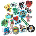 The entire set of Jeremyville patches spread out across a white background.