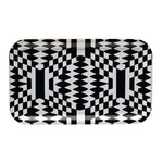 Large rectangular tray with an optical black and white print.