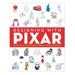 White book cover with colorful illustrations of pixar characters and a red band with white title bisecting the middle