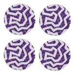 Purple and white zizag patterned round coaster, set of 4
