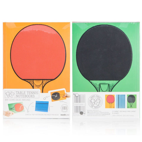 The front and back of table tennis notebooks shown side to side. The front image has a red paddle against an orange background. The back image has a black paddle against a green background.