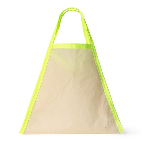 Large triangle-shaped bag with natural colored body and neon yellow trim.