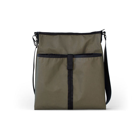 Fatigue colored rectangle crossbody bag with top zip.