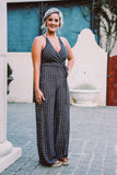 Navy Striped Halter Jumpsuit