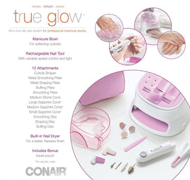 True Glow by Conair All-in-One Nail Care System helps create perfect manicures and pedicures every time, in four simple steps. Just soak, shape, polish, and dry - C-NC01X