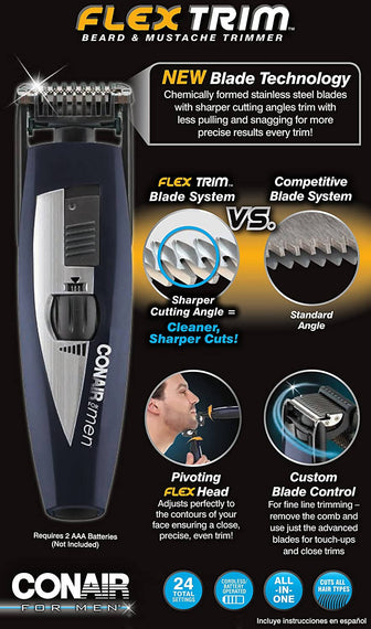 Conair Flex Trim Beard and Mustache Trimmer - C-GMT96