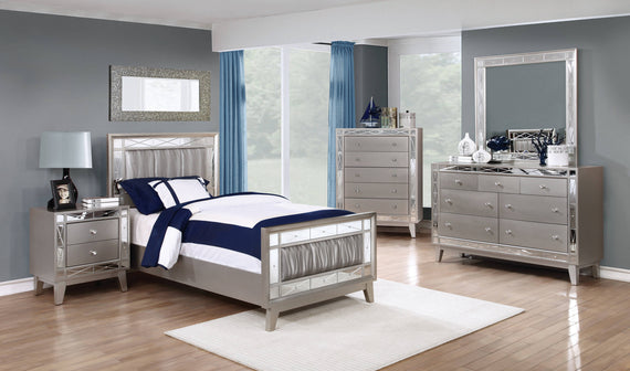 Leighton Twin Panel Bed With Mirrored Accents Mercury Metallic 4PC Set - SET4PC204921T