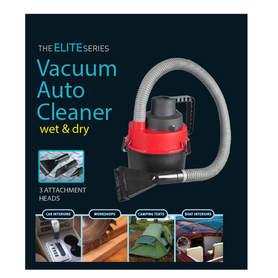 The Elite Series Vacuum Auto Cleaner Wet & Dry 3 Attachment Head , Ideal for Car Interiors, Workshop, Camping Tents, Boat Interiors- 10002404