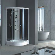 "Shower Enclosure By MegaLuxe -- 36"" X 36"" X 77"" -Round Double Sliding Glass, Corner, Shower Enclosure --YLL-115"