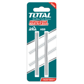 Total 2 Piece 82mm x 5.5mm x 1.2mm,  Replacement Planer Blades (Knives)  for Total Planers UTL1108236 and UTL188231. Ideal for Wood Planing and DIY Projects - TAC618201