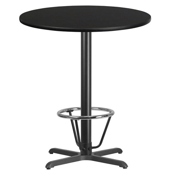 36'' Round Black Laminate Table Top with 30'' x 30'' Bar Height Table Base and Foot Ring [XU-RD-36-BLKTB-T3030B-3CFR-GG]