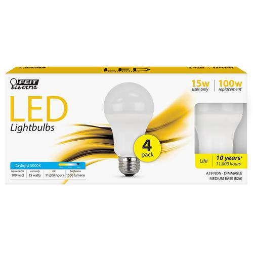 Feit Electric LED 15W 4pk 5000K energy-saving technology Bulbs, Uses 86 percent Less Energy with 10 years, 11000 hours light 22642