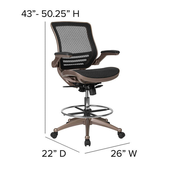 Drafting Chair Adjustable Height Mid-Back Mesh Drafting Chair with Arms - BL-LB-8801X-D-GG