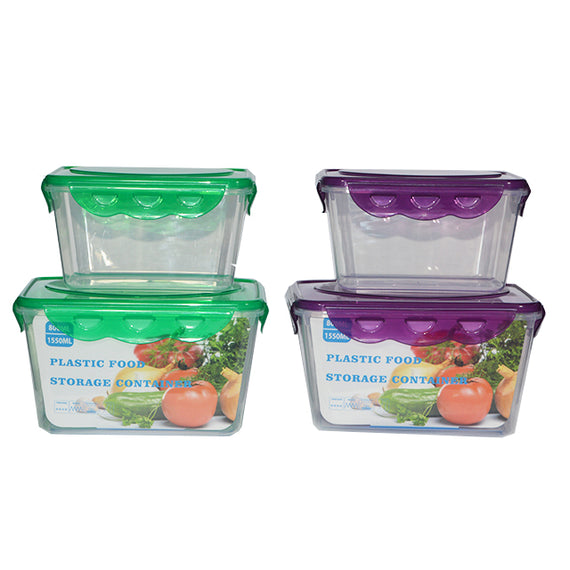 Plastic Storage Snap Lid Container Rectangle 2 Pack -800ML- 1550ML Associated - 20015175