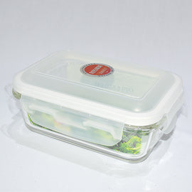 Glass Storage Container Rectangle with Snap Lock Lid  550ML (No Vent) - 20017361