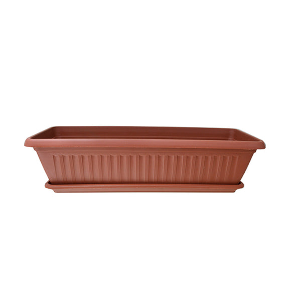 GARDEN MASTERS TERRACOTTA FLOWER TROUGH WITH SAUCER - IDEAL FOR GROWING VEGETABLES, SALADS OR BEDDING DISPLAYS - 20018805