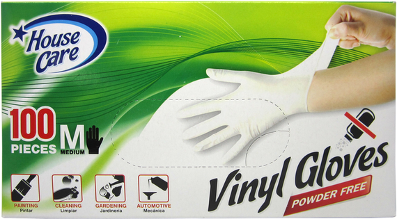 House Care, Vinyl, Powder Free, Disposable Gloves (in Medium, Large, Extra-Large) CH99232/CH99233/CH99234