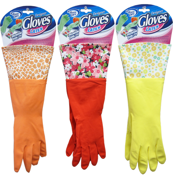 House Care Multipurpose Designer Latex Cleaning Gloves with PVC Cuffs  - CH10049