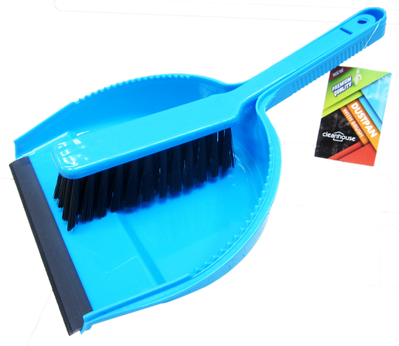 Cleanhouse Neon Colored, Dust Pan And Hand Brush with Rubber Lip. Ideal for indoor/outdoor use, quick collecting of dirt, crumbs, broken glass and leaves. For Home, Kitchen and Office Use - CV88010