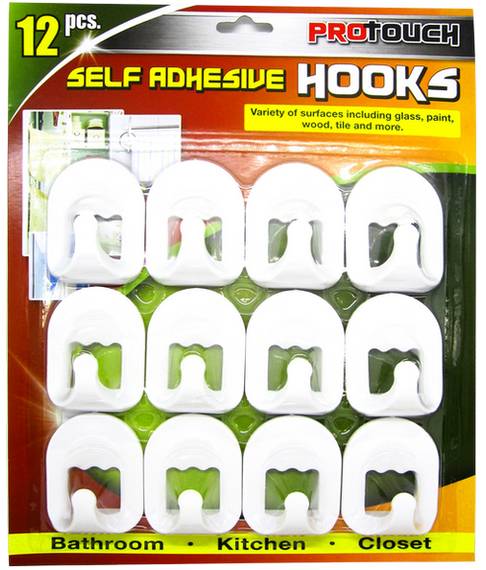 ProTouch White, Damage Free, Strong and Versatile 12 Pc Hooks CH81697