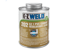 E-Z WELD - PVC Cement Regular Body, Clear 202 fast set PVC/uPVC cement for use on pipe and fittings 120/240/475/947ml