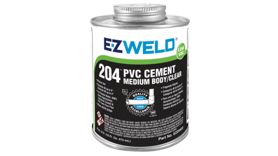 E-Z WELD - PVC Cement 204 clear, medium body, multi-purpose cement for use on PVC / uPVC 240ml