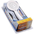 Bath to the Basics White Handheld Showerhead with Showerhead hose and bracket - 5 Spray Settings, Mist/ Massage, Mist, Rain/ Massage, Massage, Rain. Ideal for bathing children, the elderly and pets - CH32112