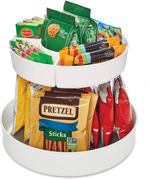 Copco Snack Cabinet Organizer, Two Tier, White With Gray Liner-688106