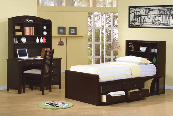 Phoenix Twin Bookcase Bed With Underbed Storage Cappuccino - 400180T