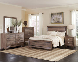 Kauffman Queen Panel Bed Washed Taupe 4PC Set - SET4PC204191Q