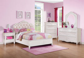 Caroline Full Upholstered Panel Bed Pink And White 4PC Set - SET4PC00720F
