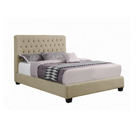 Chloe Tufted Upholstered Full Bed Oatmeal - 300007F