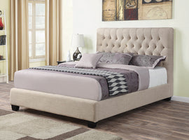 Chloe Tufted Upholstered Queen Bed Oatmeal - 300007Q